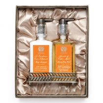 Bath & Body Set with Nickel Plated  Tray - Orange Blossom,Lilac, Jasmine