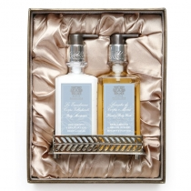 Bath & Body Set with Nickel Plated Tray - Bergamot Ocean Aria