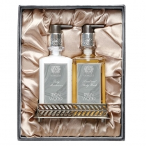 Bath & Body Set with Nickel Plated Tray - Iron Wood